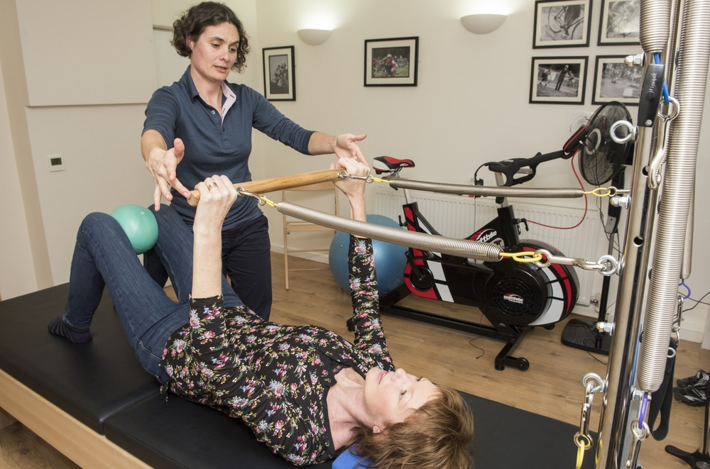 Using the trapeze table for Pilates