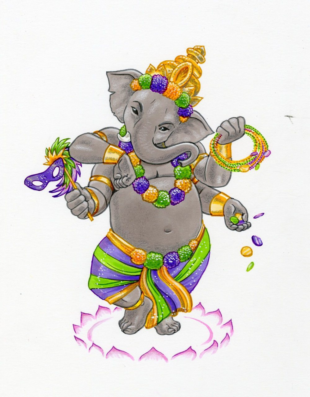 This version of Ganesh looks like a squeak toy... but that's OK for Mardi Gras, I think.