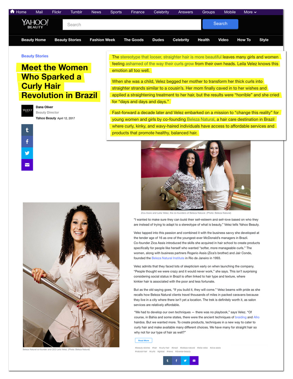 """Trusted """"Curl Masters"""" and highly renowned entrepreneurs Zica Assis and Leila Velez, who revolutionized the Brazilian beauty market more than twenty years ago, will debut the first U.S.Beleza Natural Institute in the heart of Harlem, New York City.Beleza Natural, a trusted name in Brazil as the premier destination for the care and treatment of curly, wavy and kinky hair, offers an enriching salon experience dedicated to nourishing clients' inner and outer beauty. A visit to a one-of-a-kind Beleza Natural Institute guarantees an empowering experience including education on the care and health of curly hair paired with high-quality products, pampering treatments and fast, professional service."""