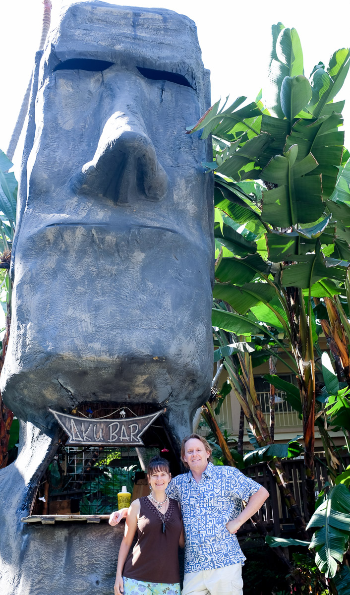 The Crowne Plaza has a beautiful, palm-filled courtyard full of tiki bars and Polynesian exotica