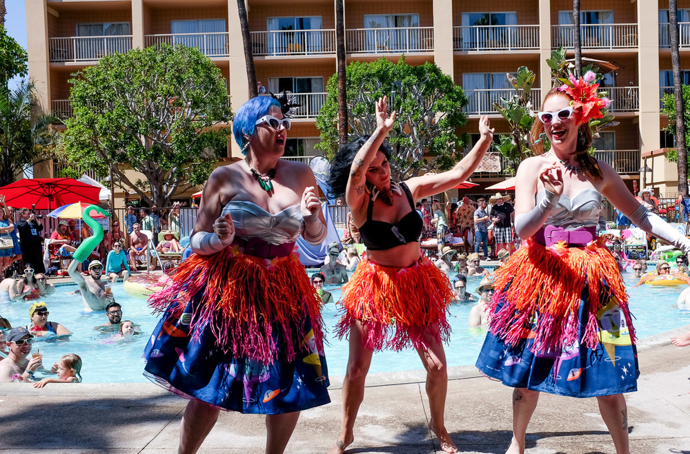 The poolside fashion show turned into some kind of dance party.