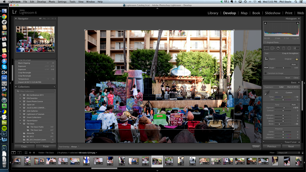 Lightroom decided to crop every photo (see the gray area outside the crop boundary at right and bottom)