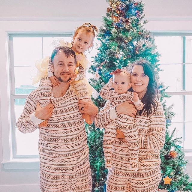Merry Christmas Eve Eve! 🎄Our first year wearing #familyjammies 🙃 Josh was stoked 😆 Lucy wore a princess dress on top of hers and at first I wanted to fight it, but then I realized... that's so Lucy. And I actually love it. ❤️ #christmaseveeve #christmaspajamas