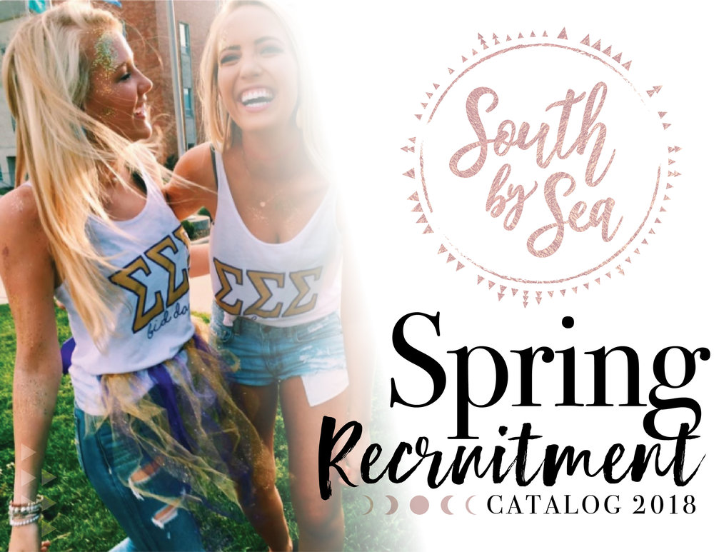 1. Pick a Theme - Probably the most obvious item on our list, but we know how hard it is coming up with a creative, fun, recruitment theme!Feeling stuck?We put together this 2018 Spring Recruitment catalog filled with themes, designs and all the