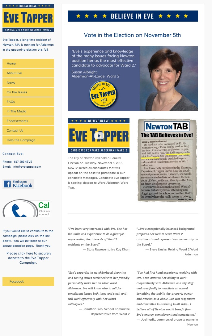 Eve Tapper Campaign Site