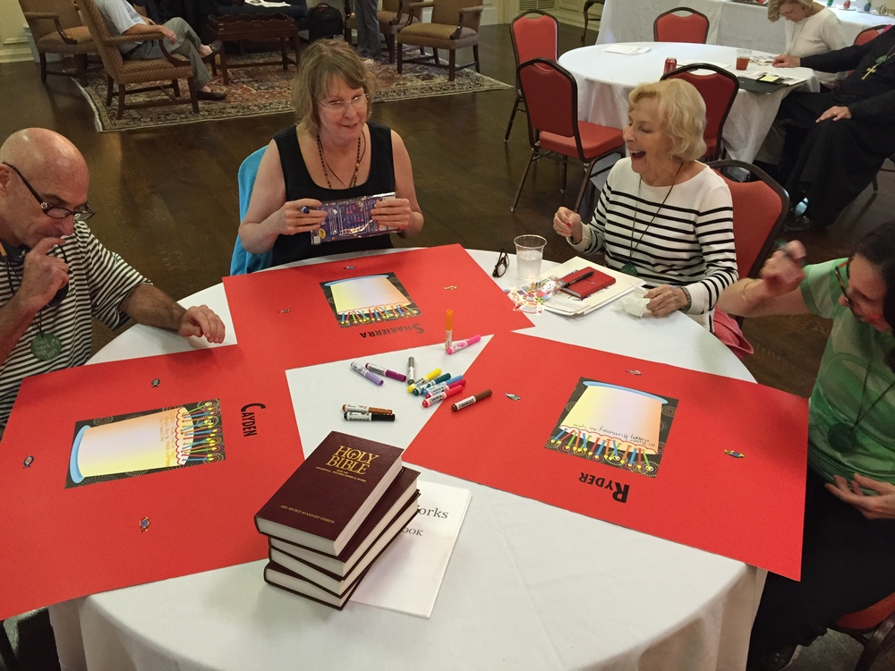 Pilgrims make birthday cards for Memphis students at Weekend #3.