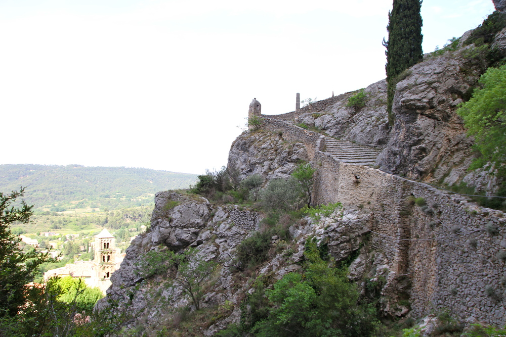 Stairs up towards the Notre-Dame de Beauvoir chapel, Moustiers-Sainte-Marie.