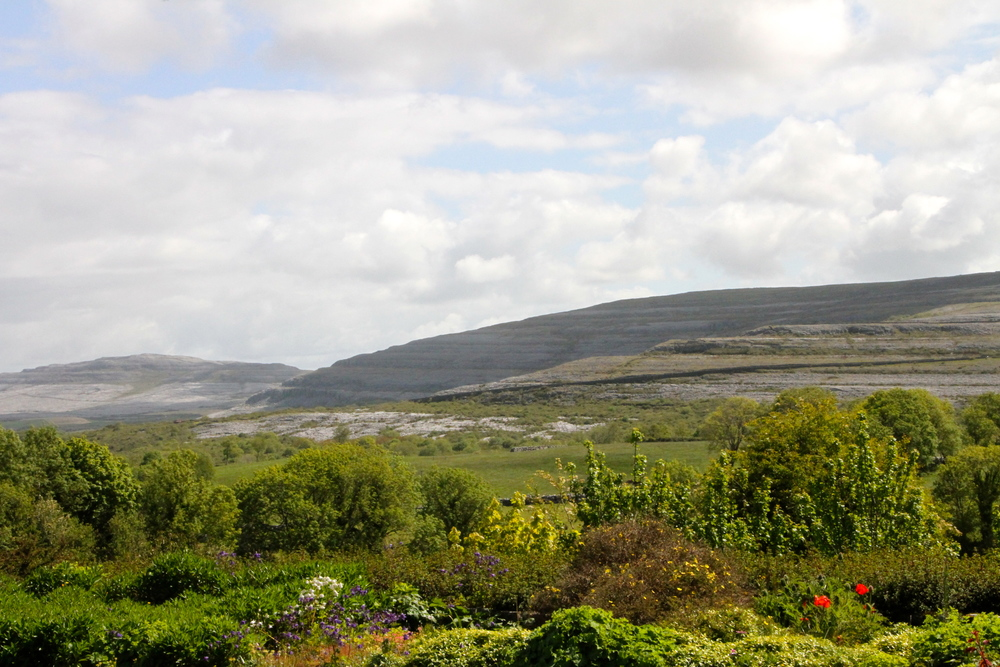 The Burren as seen from Gregan's Castle Hotel, Ballyvaughan, Co. Clare, Ireland.