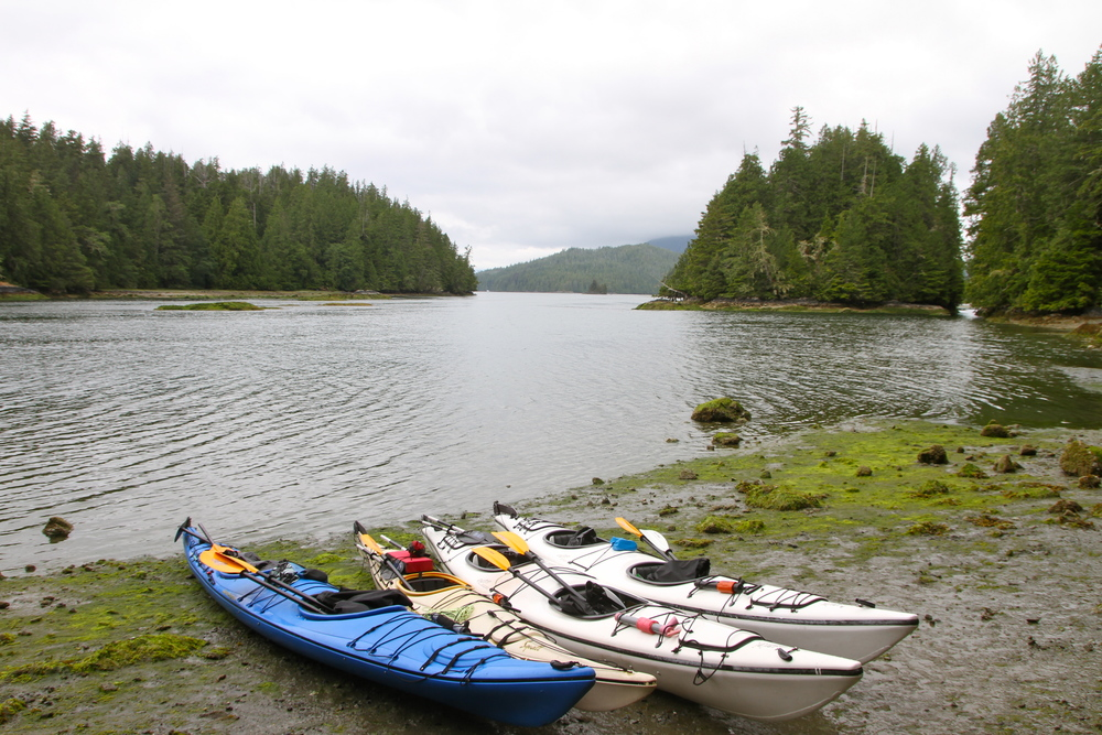 Kayaks, Meares Island, Tofino, BC, Canada.