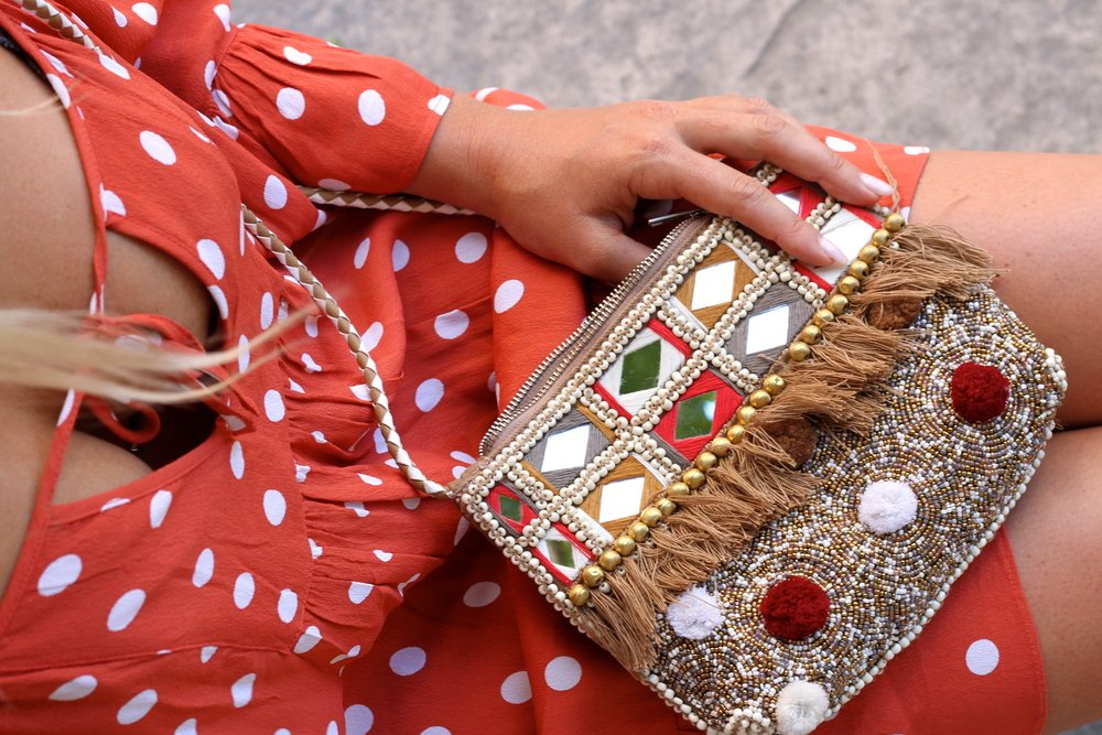 Tularosa Hattie Dress and the Shashi Riyaz Clutch.