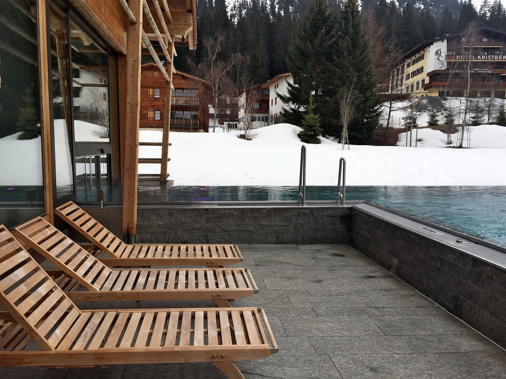 The outdoor pool at the Hotel Gasthof Post, Lech, Austria.