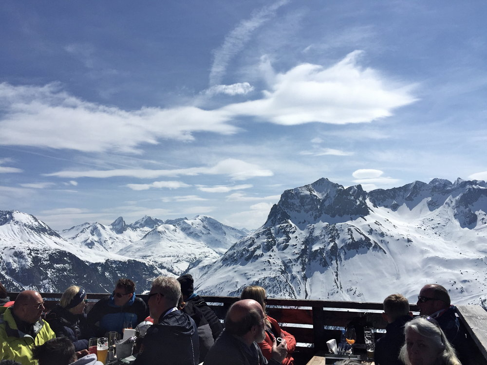 Lunch with a view at Balmalp, Lech, Austria.