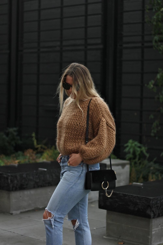 Wool cropped camel sweater, Hendrik Lou.