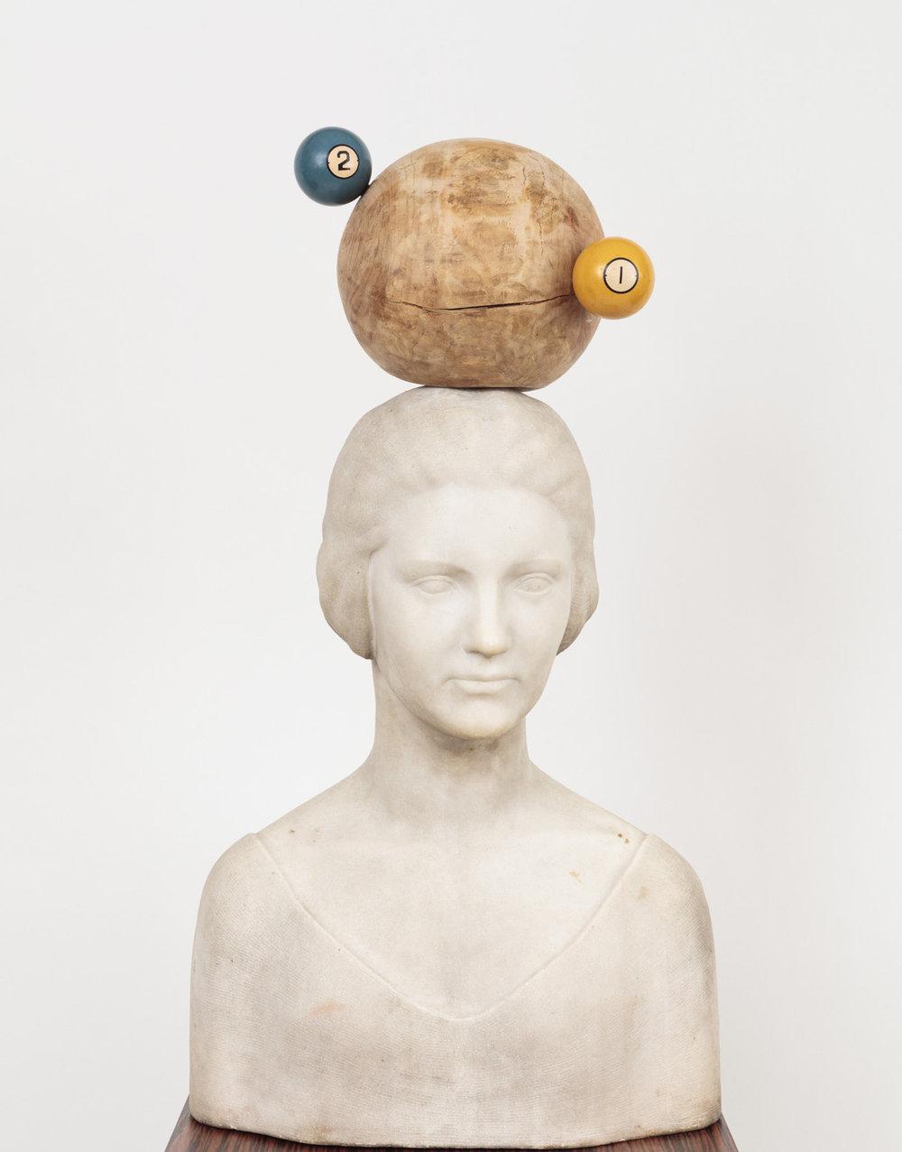 Alexis Zambrano, Thinker, 2017. Marble bust, wood, bakelite, 73.6 x 40.6 x 17.7 cm. (29 x 16 x 7 in.)