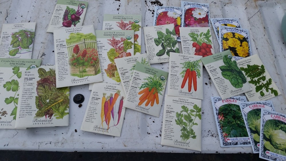 First gather up your favorite winter veggies, herbs, and flower seeds. Here are some of our favorites.