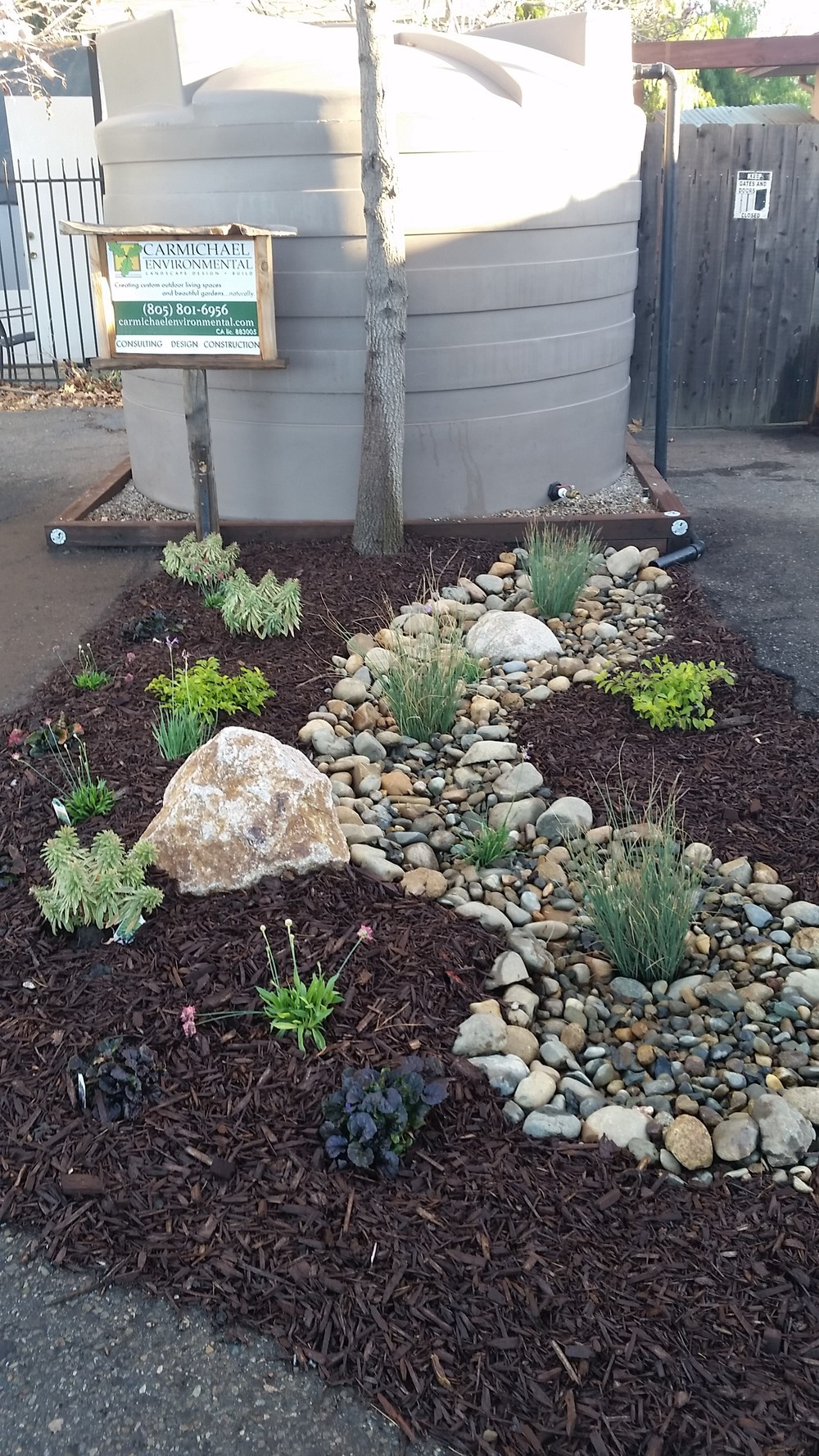 Rain Tank with Bioswale Overflow