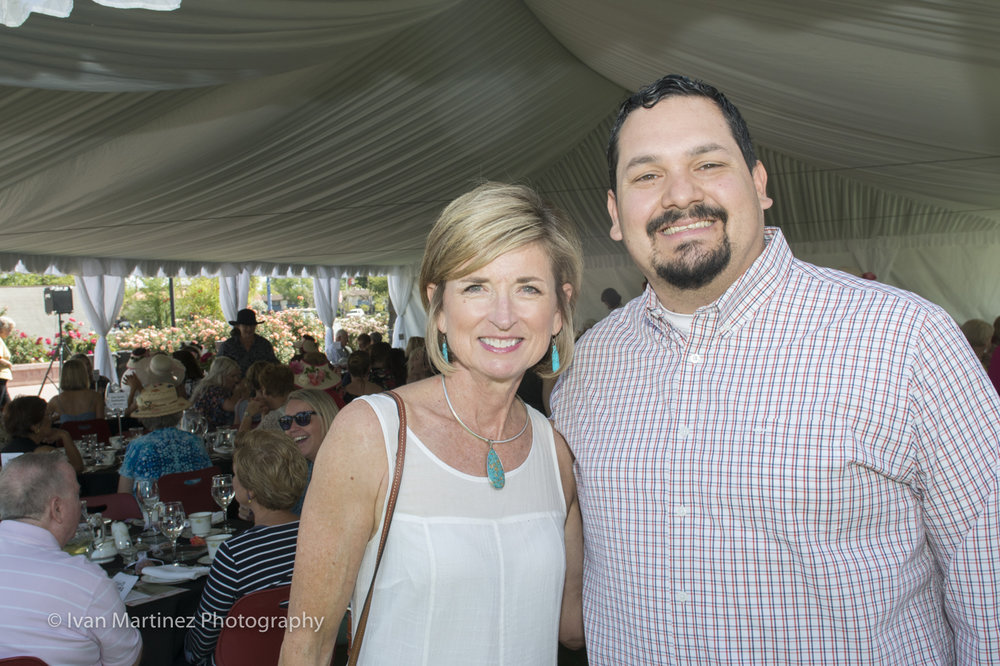 Jen Duff Mesa City Council candidate and Councilmember Francisco Heredia at the at the Mesa Community College Rose Garden Tea Event