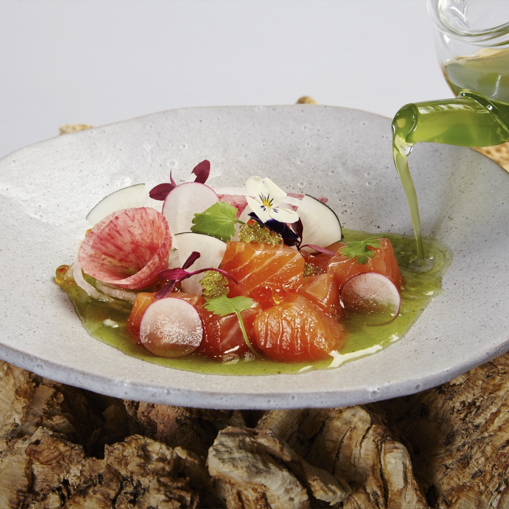 "Cured and raw sea trout, Asian radish salad with cucumber and lemongrass consommé                                                                                                                                                                                                                                                                                                    /* Style Definitions */  table.MsoNormalTable 	{mso-style-name:""Table Normal""; 	mso-tstyle-rowband-size:0; 	mso-tstyle-colband-size:0; 	mso-style-noshow:yes; 	mso-style-priority:99; 	mso-style-qformat:yes; 	mso-style-parent:""""; 	mso-padding-alt:0cm 5.4pt 0cm 5.4pt; 	mso-para-margin-top:0cm; 	mso-para-margin-right:0cm; 	mso-para-margin-bottom:10.0pt; 	mso-para-margin-left:0cm; 	line-height:115%; 	mso-pagination:widow-orphan; 	font-size:11.0pt; 	font-family:""Calibri"",""sans-serif""; 	mso-ascii-font-family:Calibri; 	mso-ascii-theme-font:minor-latin; 	mso-hansi-font-family:Calibri; 	mso-hansi-theme-font:minor-latin; 	mso-fareast-language:EN-US;}"