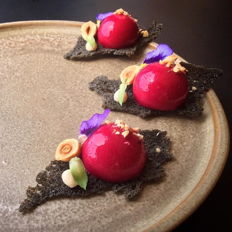 'Beets and Charcoal'... Aerated beetroot mousse, toasted hazelnut and granola, hung crème fraîche, charcoal sourdough wafer, garden flowers...