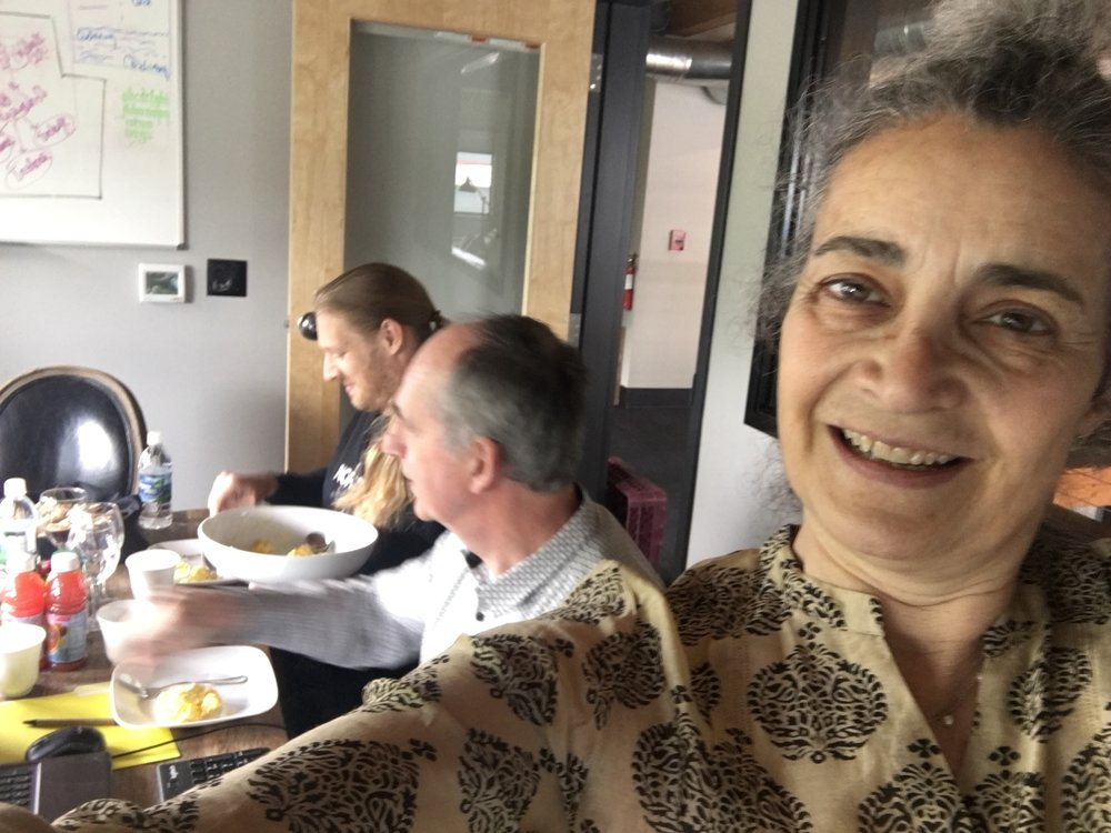 Portland Tango Festival 2018, meeting at the VT Group Headquarters.  Luisa Zini Fortuna  and Greg Frost and Michiel Frishert.