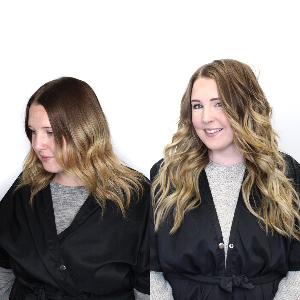 Alexa wearing two rows of hand-tied extensions in a soft blonde ombre