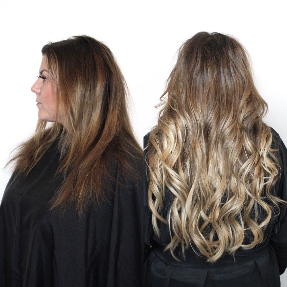 "Danielle with some gorgeous 20"" hair in a dimensional blonde ombre"