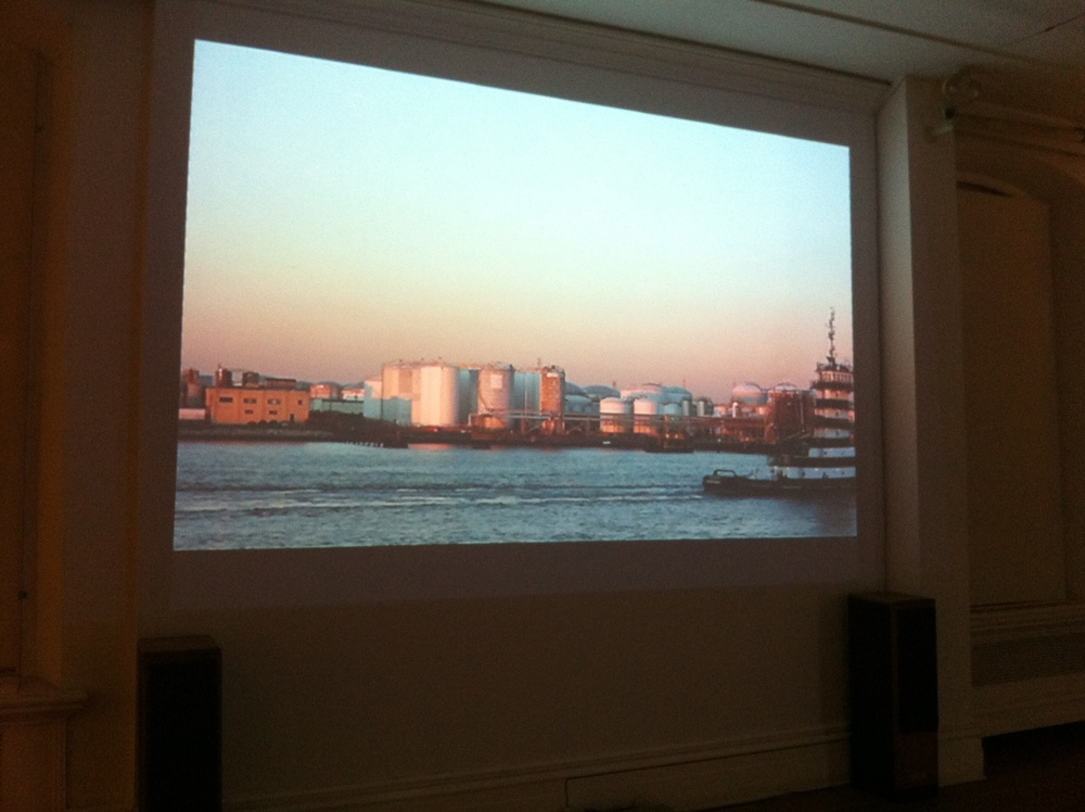 projection of a boat and industrial waterway