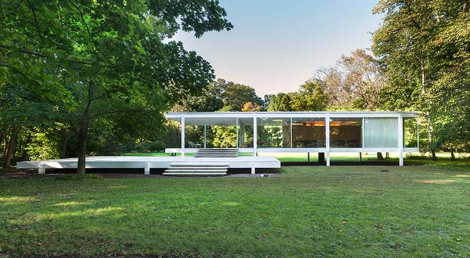 Farnsworth House designed by the famous Ludwig Mies van der Rohe and built in 1949.