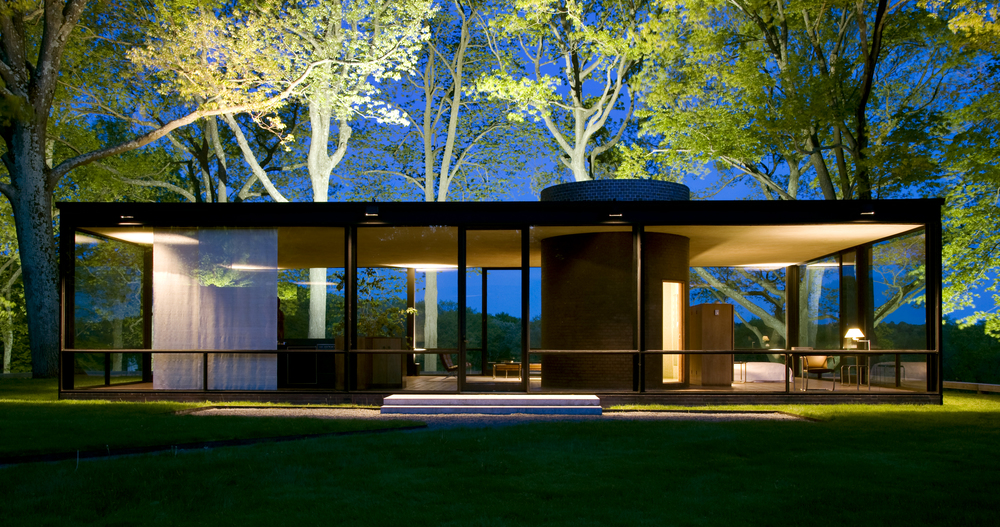 Glass House designed by Phillip Johnson, apprentice to Mies van der Rohe, and built in 1951.