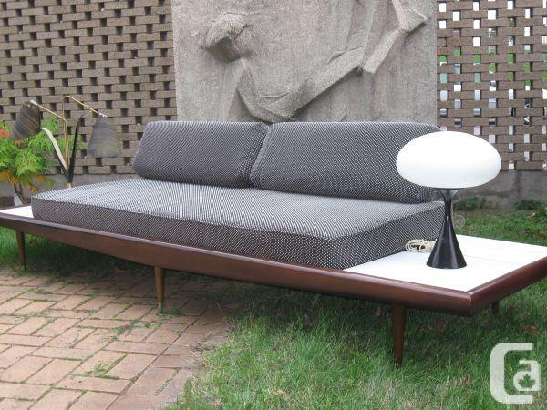 Adrian Pearsall Mid-century modern sofa with built-in side tables.