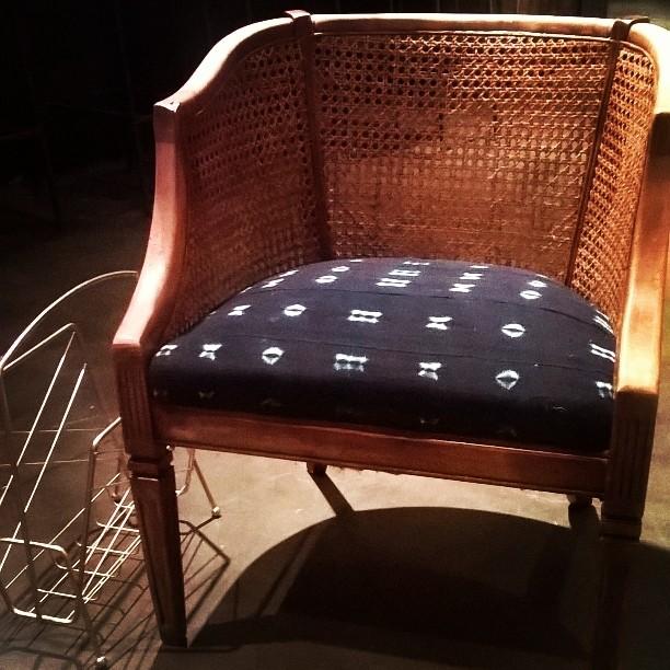 MidCentury Cane Back Barrel Chairs W/ Indigo Mudcloth. Cane U0026 Mudcloth
