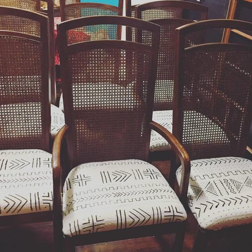Vintage Cane Back Dining Chairs With Mudcloth Seats Cedar Cotton