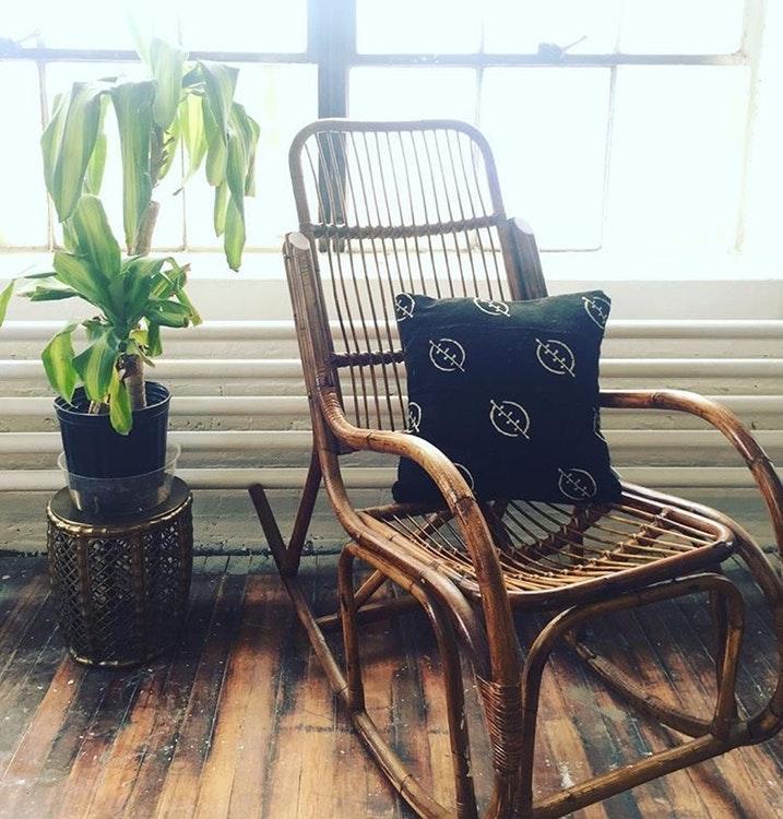rattan rocker cedar cotton. Black Bedroom Furniture Sets. Home Design Ideas