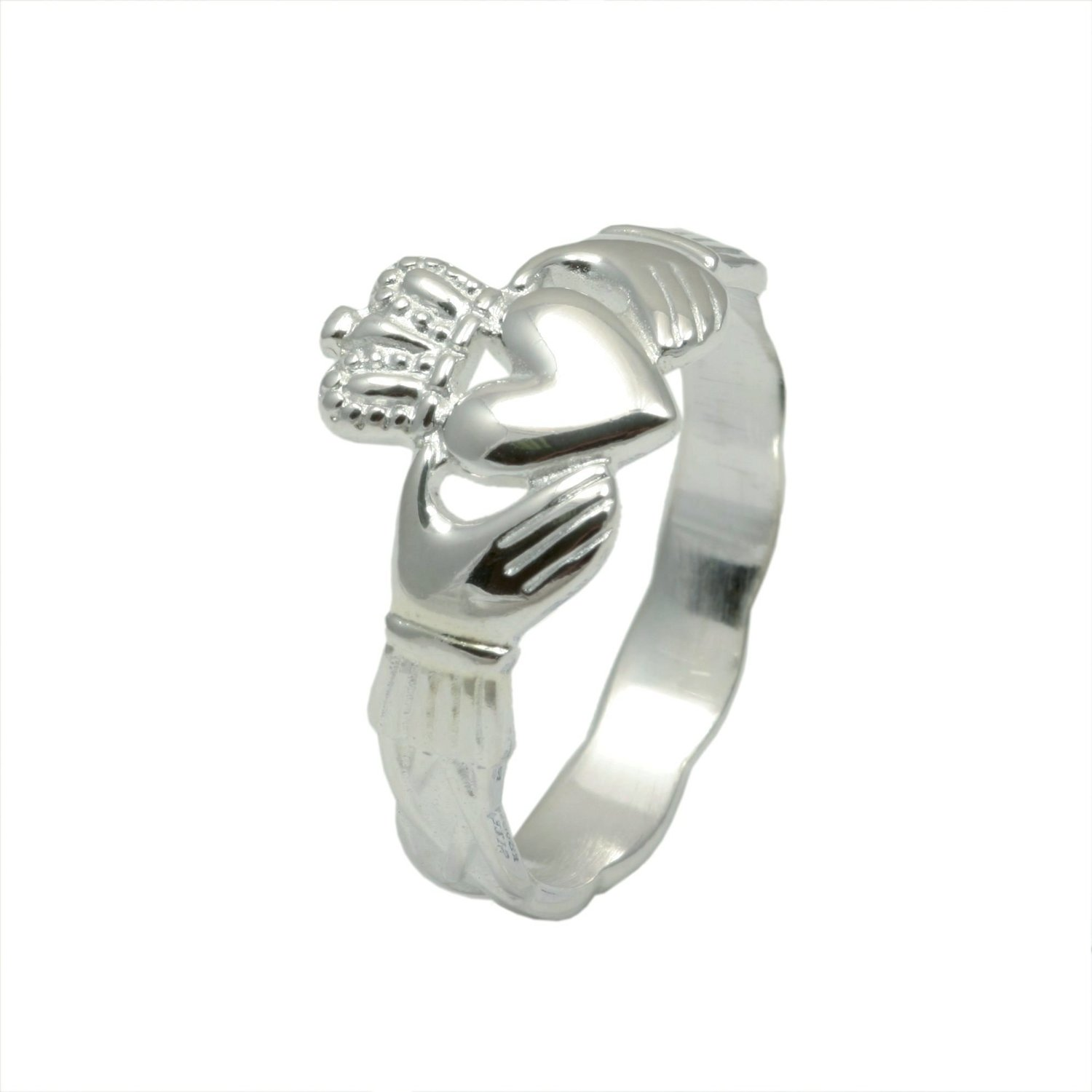 wide white gaelic karat claddagh ring rings sides gold wedding engagement corrib