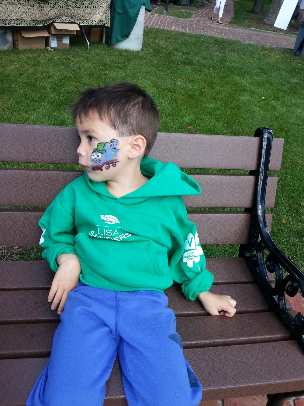 Irish Thomas the Train face painting.