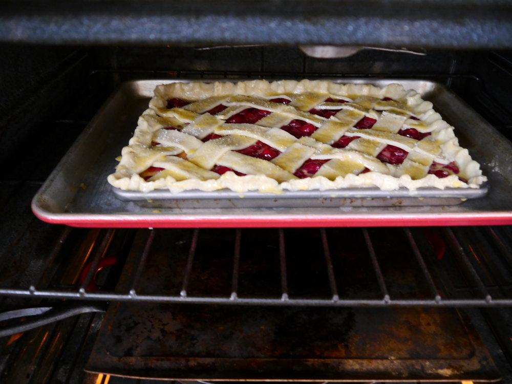 My egg-washed pie entering the oven.