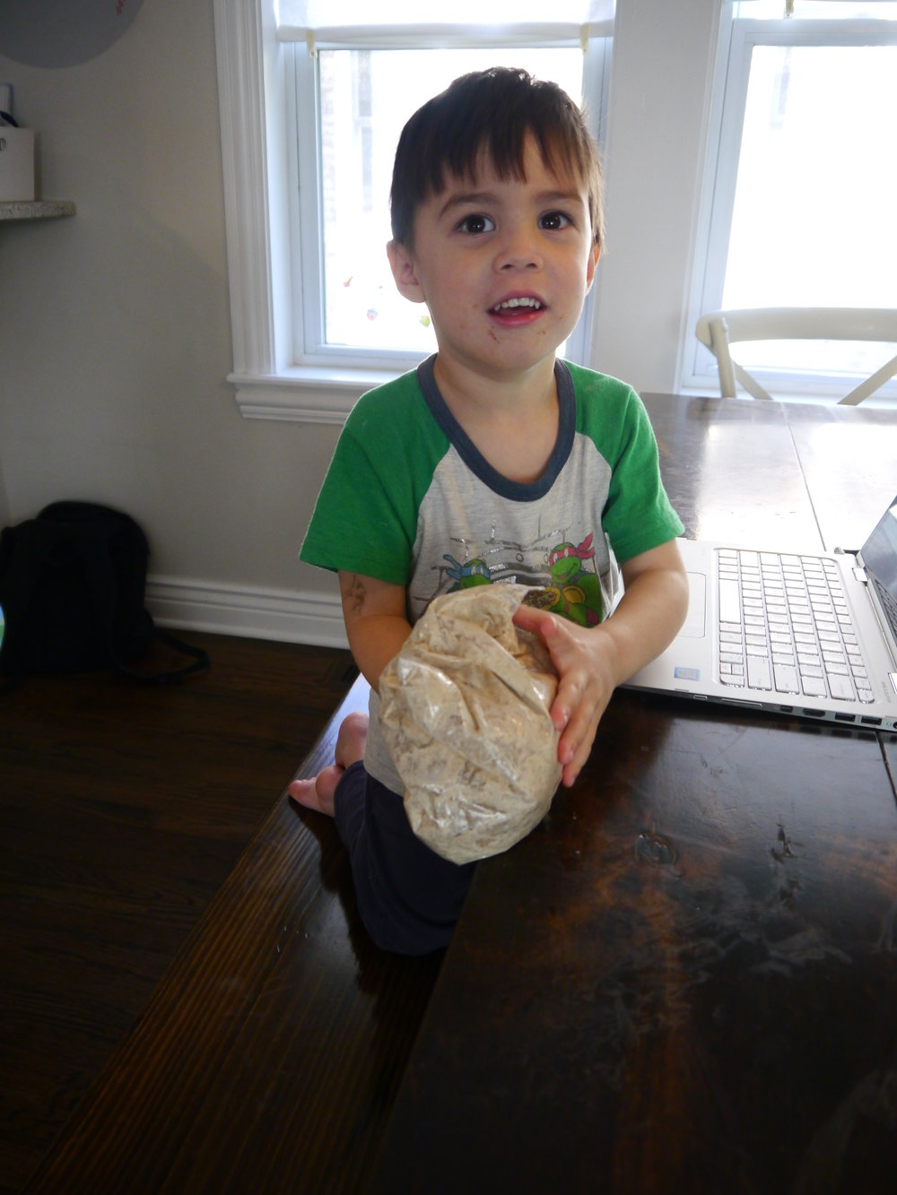 Emmett was in charge of making the Brown Bread.  The mix is awesome. All you need to do is add milk to this plastic zip-top bag, seal the bag and mix it in with your hands.