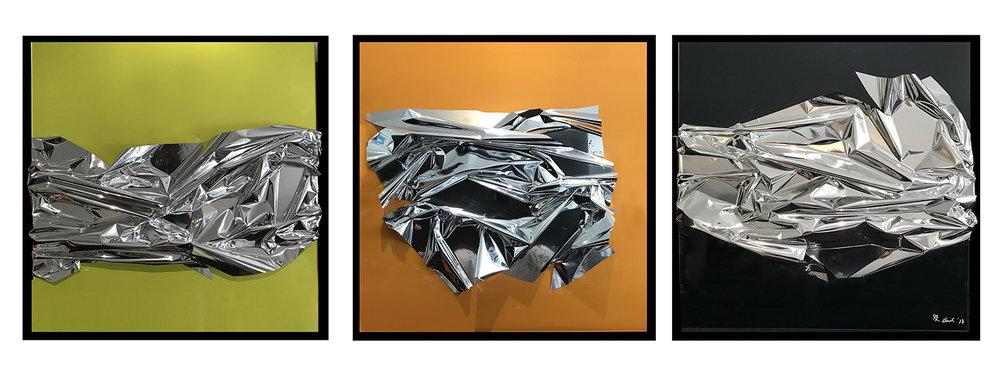 """AMEL CHAMANDY   Triptych Panneaux de plexi colorés et Mylar 3 panneaux de 24x24"""" 2018   POUR PLUS D'INFORMATION"""