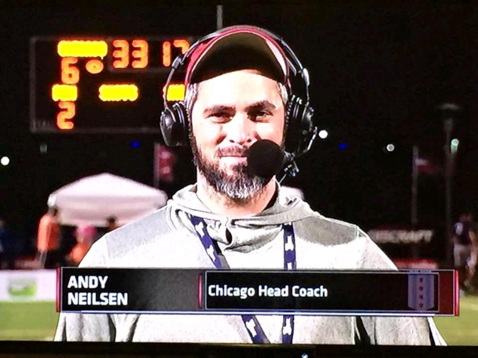 Coach Andy Neilsen doing his best Bill Belichick impersonation.
