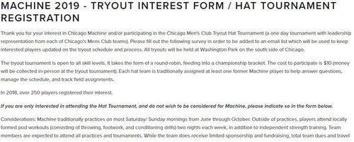 Tryout Form 2019 Chicago Machine