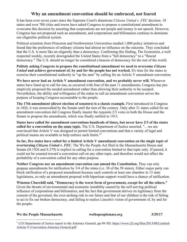 Legislative Lobby Packet We The People Massachusetts