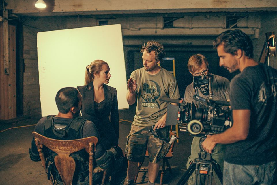 Directing Aris Juson and Emma Pelett on the set of Splinter Cell Extraction