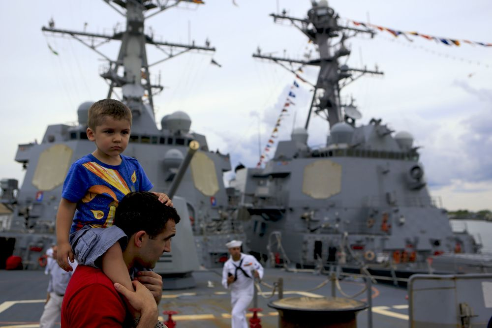 Father and son visit the DD Farragut during New York's fleet week, 2016