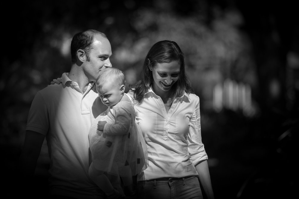 family black and white portrait