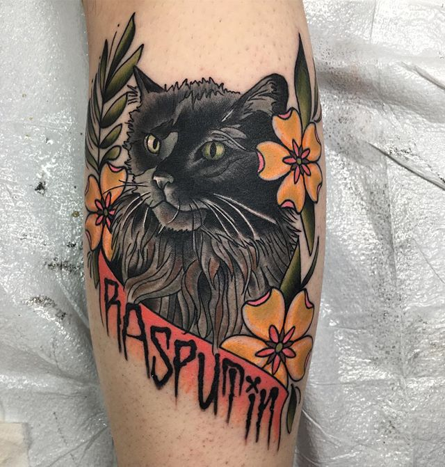 Super fun kitty tattoo from yesterday. #metalcats #metalcatsofinstagram #rasputin #rasputinthecat #neotraditional #neotraditionaltattoo #blackclawneedle #selfinflictedstpeters #tattoosbyjonbell #hellyeah #mycatscoolerthanyours #metaltattoos #metalhead #cattattoo #cattat #ratatatcat #bestinthemidwest #bestintheburbs #grindmoreshinemore #selfinflictedstudios