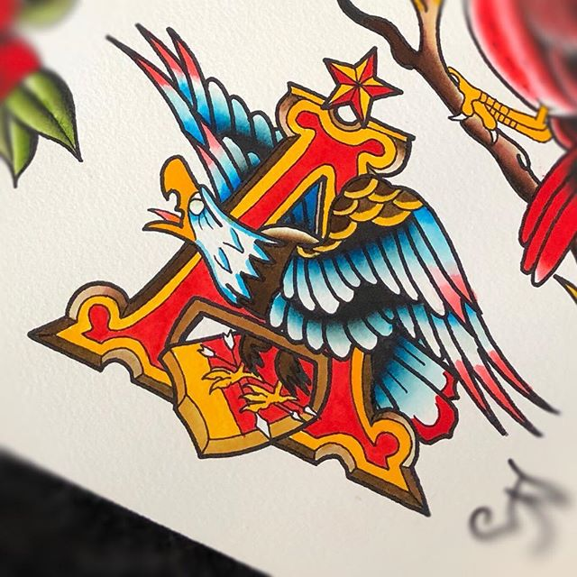 St. Louis Missouri . . . #flash #watercolor #painting #stlouismissouri #stl #fun #anheuserbusch #beer #314 #636 #stpetersmo #fun #art #skinart #ilovetattooing #tattoo #traditionaltattoos #traditionalflash #traditionaleagle #eagles