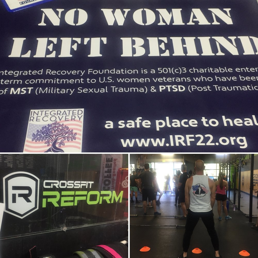 - Integrated Recovery Foundation Fundraiser at Crossfit Reform, Rancho Santa MargaritaIntegrated Recovery Foundation is committed to helping women veterans who have been traumatized by the effects of Military Sexual Trauma (MST). 1 in 4 military women will experience the trauma of rape, abuse or harassment defined as MST. 80% will not report their assault because of fear of retaliation. Victims of MST are 12 times more likely to commit suicide. We were honored to have had the opportunity to serve all those who came out to support at Crossfit Reform and even participate in the Crossfit workout honoring a fallen female Army Specialist.