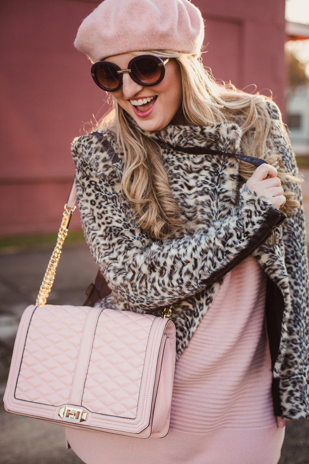 Rework your winter outfits. Pink Rebeca Minkoff Jumbo Love