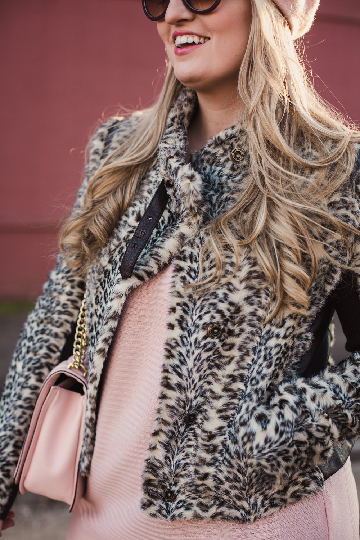 Faux Fur Jacket. Leopard Print Jacket