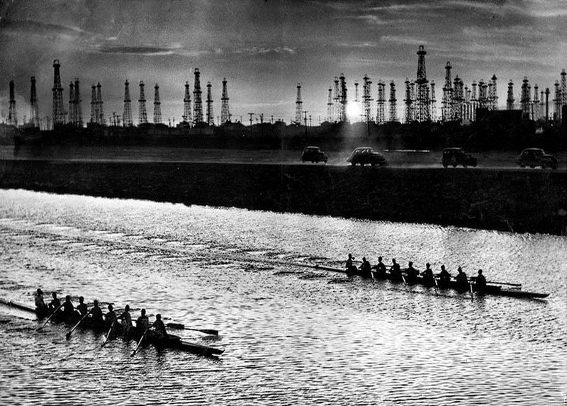 An early Ballona Creek Regatta. April 5th 1940. Dick Hyland of the LA Times reported that thousands lined Ballona Creek to watch the race between UCLA and Sacramento Junior College